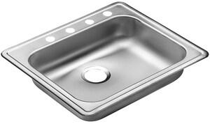 PROFLO® Bealeton 25 x 21-1/4 in. 4 Hole Single Bowl Drop-in Kitchen Sink in Stainless Steel PFSR2521554C