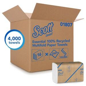 Scott® Scott® 250-Count 9-2/5 in. Recycled Fiber Multifold Towel in White (Case of 16) K01807