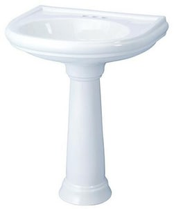 Gerber Plumbing Brianne Suite Faucet Centers Pedestal Lavatory in White G29846WH