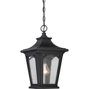 Quoizel Bedford 23W 1-Light Compact Fluorescent Outdoor Hanging Lantern in Mystic Black QBFD1910KFL