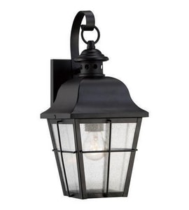 Quoizel Millhouse 15-1/2 in. 23W 1-Light GU24 Base Wall Lantern in Mystic Black QMHE8406KFL
