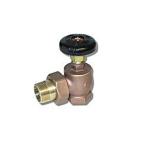 Matco-Norca 1 in. Brass Male Union Steam Angle Radiator Valve with Nut and Tailpiece MBARVY