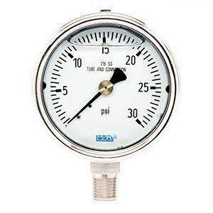 WIKA 4 x 1/4 in. 30 psi Stainless Steel Lower Mount Pressure Gauge W52545652