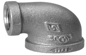 2-1/2 x 1-1/2 in. 150# Reducing Galvanized Malleable Iron 90 Degree Elbow IG9LJ