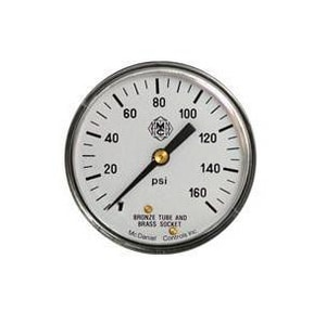McDaniel Controls 304 Stainless Steel and Brass NPT 1/4 x 2-1/2 in. Pressure Gauge 160 psi MJ6E