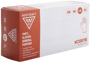 Westcraft L Size Vinyl Gloves in Clear (Box of 100) WC106716