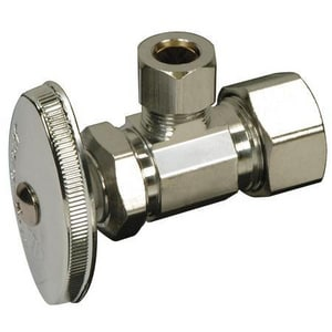 Brass Craft OCR39 Series 1/2 in Oval Handle Angle Supply Stop Valve in Polished Chrome BOCR39XC1