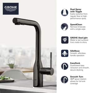 GROHE Essence Single Handle Pull Out Kitchen Faucet in Brushed Cool Sunrise G30271GN0