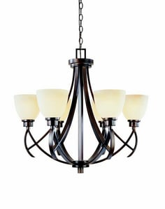 World Imports Lighting Beyond Modern 100W 6-Light Medium E-26 Base Chandelier with Etruscan Glass in Weathered Copper W6151556