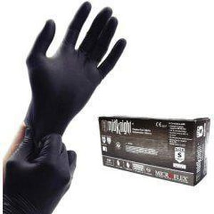 Microflex MidKnight™ XL Size Nitrile Gloves in Black MICMK296XL