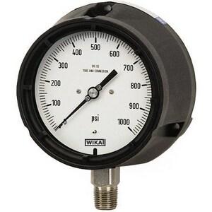 WIKA XSEL™ 4-1/2 in. 100 psi 1/4 in. MNPT Glycerin Filled Pressure Gauge Lead Free W9833833 at Pollardwater