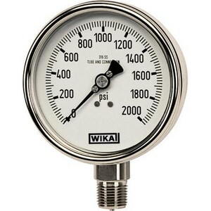 WIKA Bourdon 2-1/2 in. -30 hg 30 psi 1/4 in. MNPT Glycerin Filled Pressure Gauge Lead Free W9831805 at Pollardwater