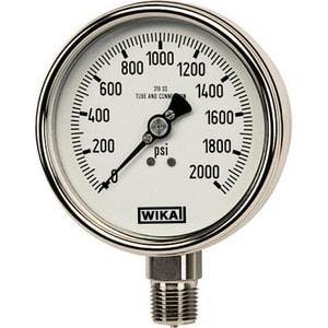 WIKA Bourdon 4 in. 300 psi 1/4 in. MNPT Glycerin Filled Pressure Gauge W9832403 at Pollardwater