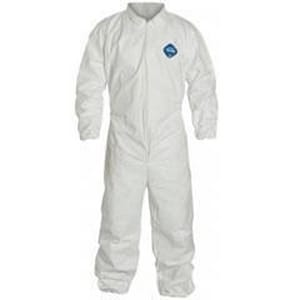 Liberty Glove & Safety Tyvek® XXL Size Plastic and PTFE Coverall with Elastic Wrist and Ankle in White LTY125SXXL