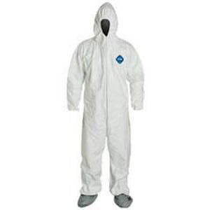 Liberty Glove & Safety Tyvek® XXXL Size PTFE Coverall with Hood and Boot in White LTY122S3X