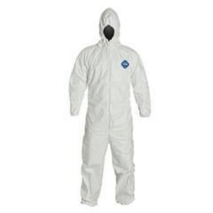 Liberty Glove & Safety Tyvek® M Size PTFE Coverall with Hood, Elastic Wrist and Ankle in White DTY127SWHMD002500