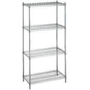 R & B Wire Products 18 x 36 x 72 in. Shelving Unit with 4 Wire Shelves in Chrome Plated (Less Casters) RSU183672