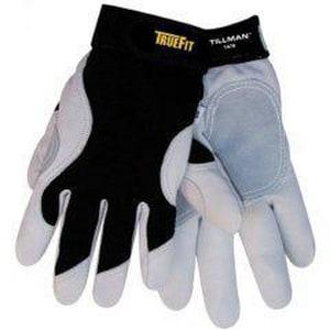 Tillman® Tillman® L Size Spandex, Goatskin Leather and Fiber Driver Gloves in Black and White TILM1470L