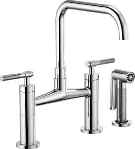 Brizo Litze™ Double Handle Bridge Kitchen Faucet in Polished Chrome D62553LFPC