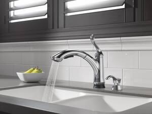 Delta Faucet Pilar® 5-11/16 in. 13 oz Kitchen Soap Dispenser in Polished Nickel DRP50781PN