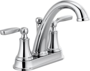 Delta Faucet Woodhurst Two Handle Centerset Bathroom Sink Faucet With Metal Pop Up Drain In Polished Chrome 2532lf Mpu Ferguson