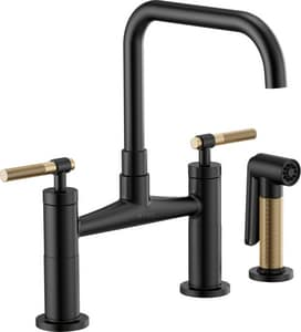 Brizo Litze™ Two Handle Bridge Kitchen Faucet in Matte Black with Luxe Gold D62553LFBLGL
