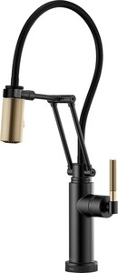 Brizo Litze™ Single Handle Pull Down Kitchen Faucet in Matte Black with Luxe Gold D64243LFBLGL