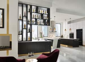 Brizo Litze™ Single Handle Lever Handle Bar Faucet in Matte Black with Luxe Gold D61054LFBLGL