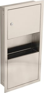 Delta Faucet Commercial Small Recessed Towel Dispenser and Waste Receptacle in Stainless Steel D45568SS