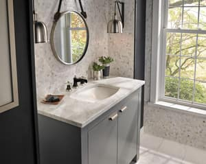 Brizo Rook™ Two Handle Widespread Bathroom Sink Faucet in Brilliance Luxe Nickel with Matte Black Handles Sold Separately D65361LFNKBLLHPECO