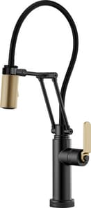 Brizo Litze™ Single Handle Pull Down Kitchen Faucet in Matte Black with Luxe Gold D64244LFBLGL