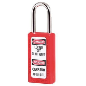 Master Lock 411-Series 1-1/2 in. Thermoplastic and Xenoy® Padlock in Red M411MKW400REDBG17