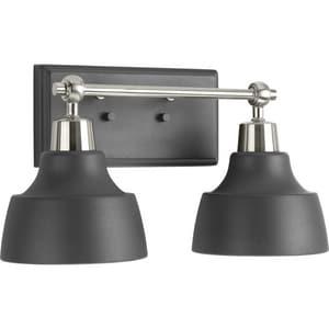 Progress Lighting Bramlett 100W 2-Light Medium E-26 Incandescent Bath Vanity in Brushed Nickel PP300040009