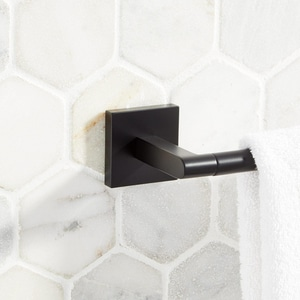 Signature Hardware Hibiscus 26-1/8 in. Towel Bar in Matte Black SHHB24TBMB