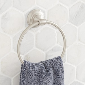 Signature Hardware Beasley Round Closed Towel Ring in Brushed Nickel SHBETRBN