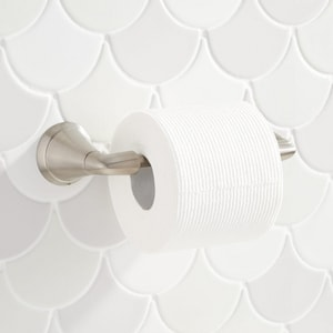 Signature Hardware Provincetown Wall Mount Toilet Tissue Holder in Brushed Nickel SHPRTHBN