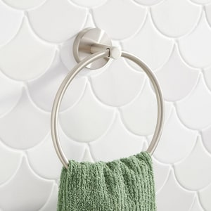 Signature Hardware Edenton Round Closed Towel Ring in Brushed Nickel SHMLEDTRBN