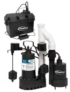 PROFLO® 1/3 hp 12V Cast Iron Battery Backup Sump Pump Kit with Primary Pump PF92952