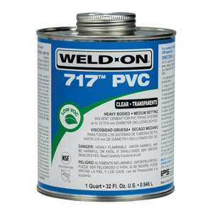 Weld-On® 717™ 1 qt Regular Set Plastic Clear Pipe Cement I10144