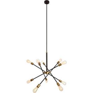 Elegant Lighting Axel 60W 10-Light Medium E-26 Incandescent Chandelier in Black with Brass ELD8003D28BK