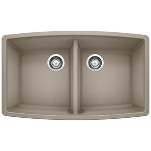 Blanco America Performa™ 33 x 20 in. No Hole Composite Double Bowl Undermount Kitchen Sink in Truffle B441290