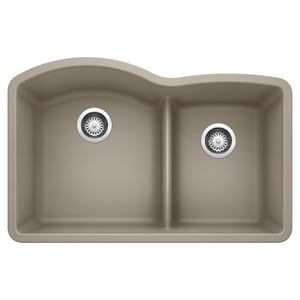 Blanco America Diamond™ 32 x 20-7/8 in. No Hole Composite Double Bowl Undermount Kitchen Sink in Truffle B441596