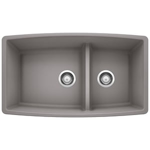 Blanco America Performa™ 33 x 19 in. No Hole Composite Double Bowl Undermount Kitchen Sink in Metallic Grey B441309