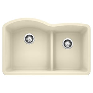 Blanco America Diamond™ 32 x 20-7/8 in. Composite Double Bowl Undermount Kitchen Sink in Biscuit B441594