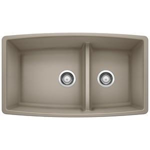 Blanco America Performa™ 33 x 19 in. No Hole Composite Double Bowl Undermount Kitchen Sink in Truffle B441315