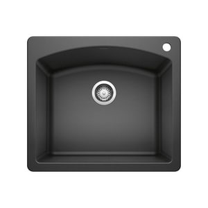 Blanco America Diamond™ 25 x 22 in. 1 Hole Composite Single Bowl Dual Mount Kitchen Sink in Anthracite B440210