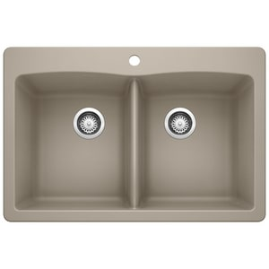 Blanco America Diamond™ 33 x 22 in. 1 Hole Composite Double Bowl Dual Mount Kitchen Sink in Truffle B441285 at Pollardwater