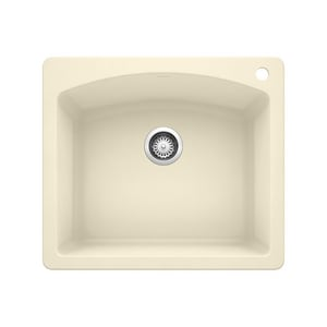 Blanco America Diamond™ 25 x 22 in. 1 Hole Composite Single Bowl Dual Mount Kitchen Sink in Biscuit B440212