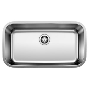 Blanco America Stellar™ 28 x 18 in. No Hole Single Bowl Undermount Kitchen Sink in Stainless Steel Refined Brushed B441024