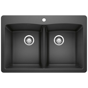 Blanco America Diamond™ 33 x 22 in. 1 Hole Composite Double Bowl Dual Mount Kitchen Sink in Anthracite B440220 at Pollardwater